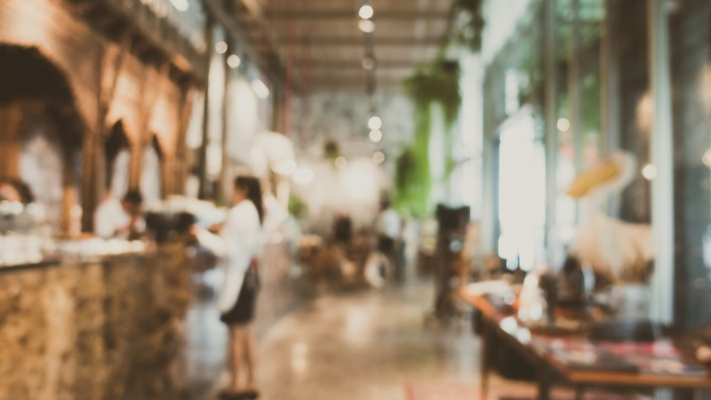 Abstract blur and defocused restaurant and coffee shop cafe interior for background - Vintage Filter